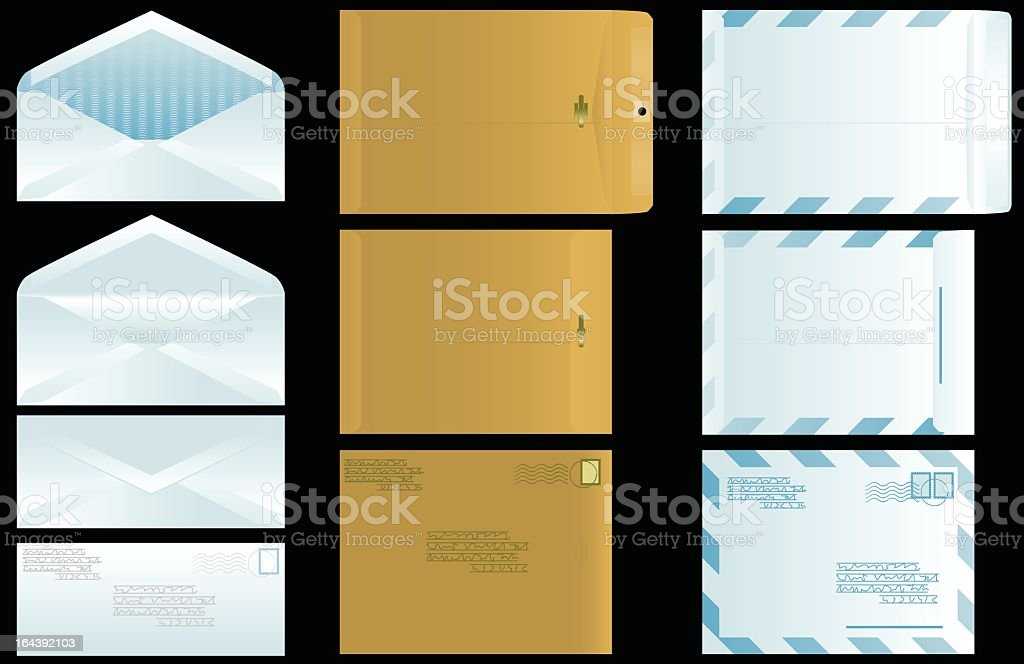 A variety of envelopes in brown and white royalty-free stock vector art