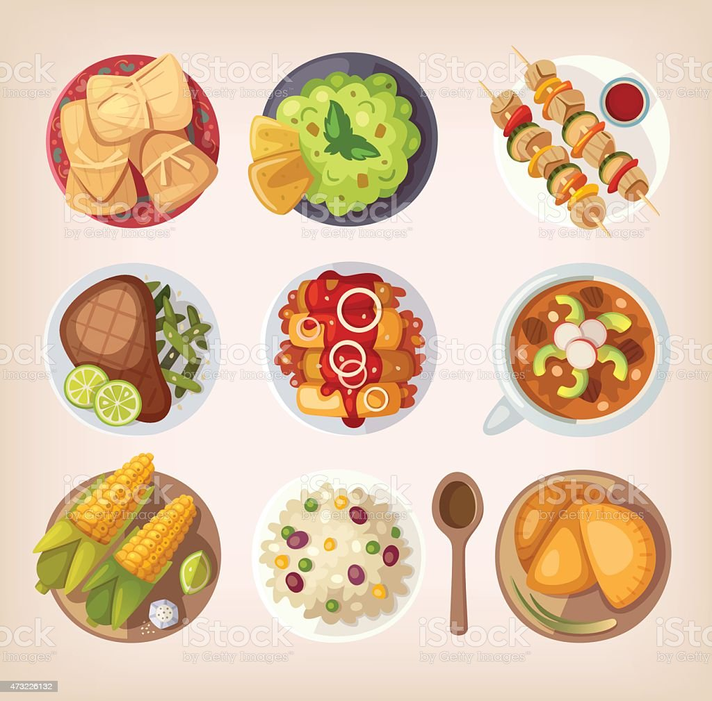 Variety of ethnic Mexican traditional dishes vector art illustration