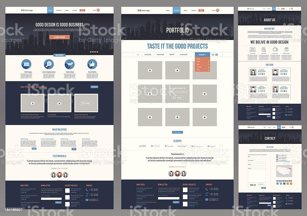 Variety of flat website templates vector art illustration