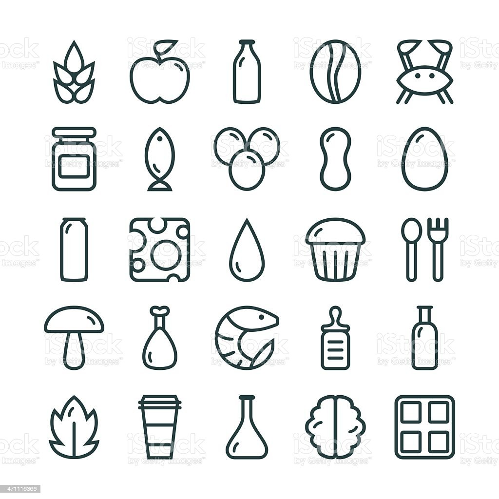 Variety of food icon sets in columns vector art illustration