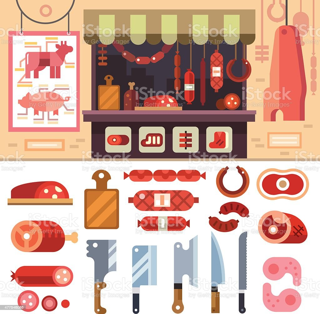 Variety of food in the butcher shop vector art illustration