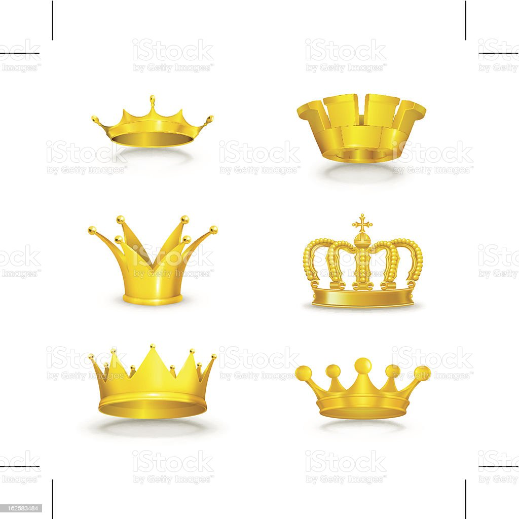 Variety of golden crown designs vector art illustration