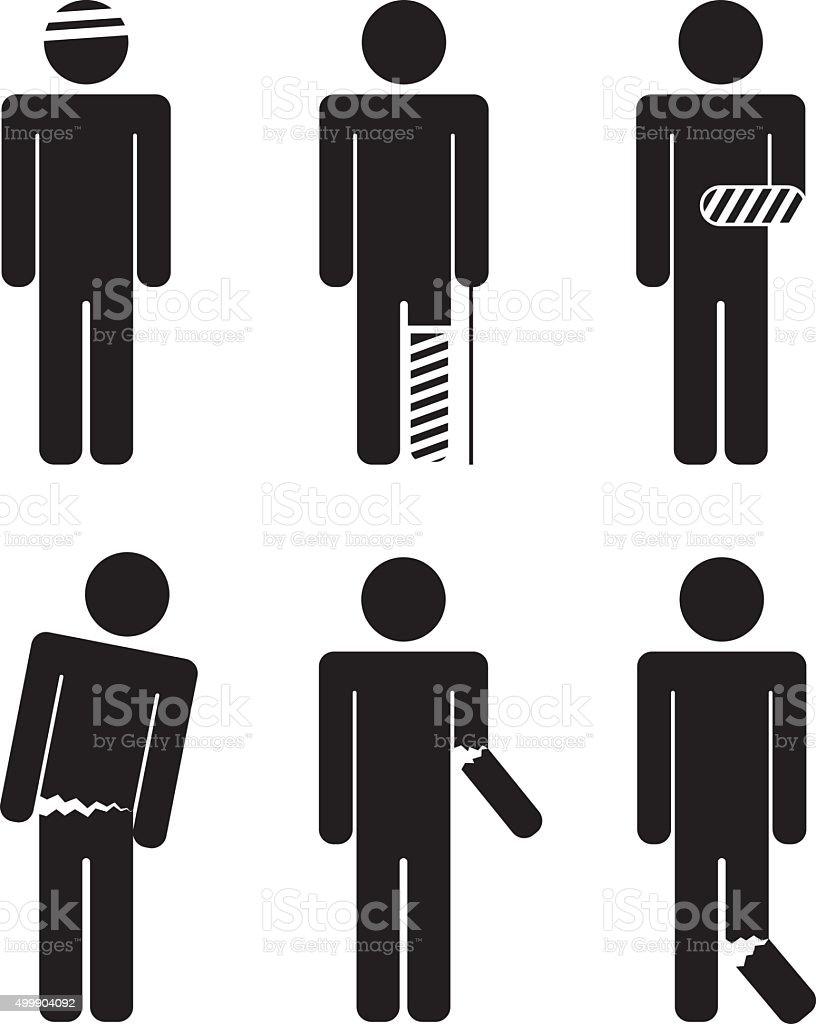 variety of injuries. Broken arm, leg, torso, head. Bandaged. vector art illustration