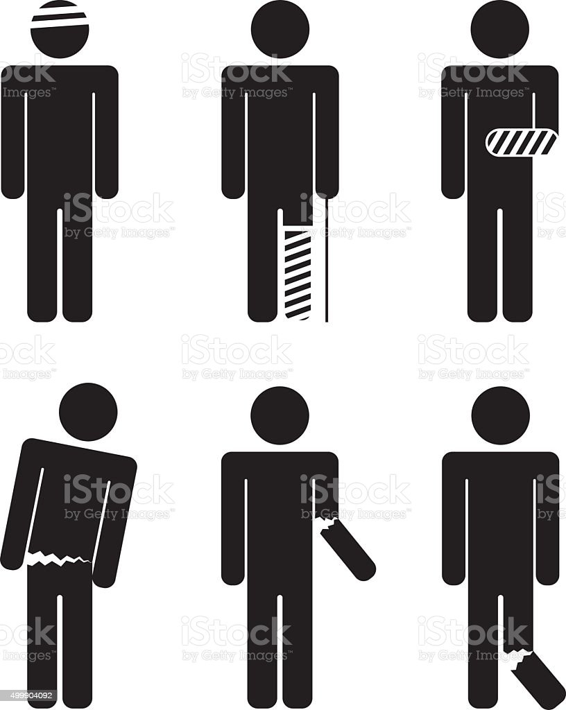 variety of injuries. Broken arm, leg, torso, head. Bandaged. vector art illustration