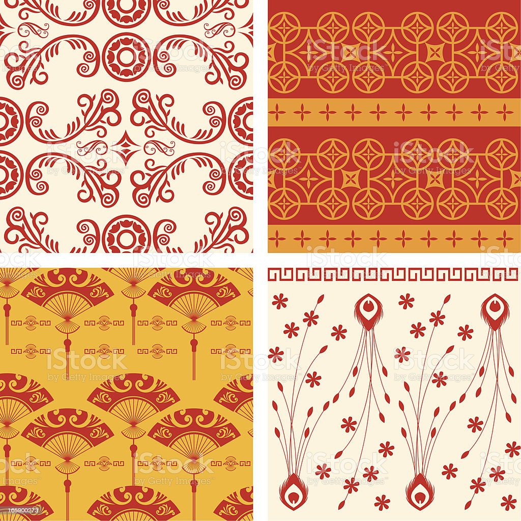 A variety of oriental backgrounds vector art illustration