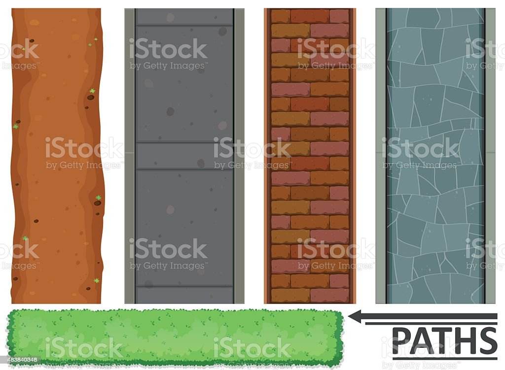 Variety of paths and textures vector art illustration