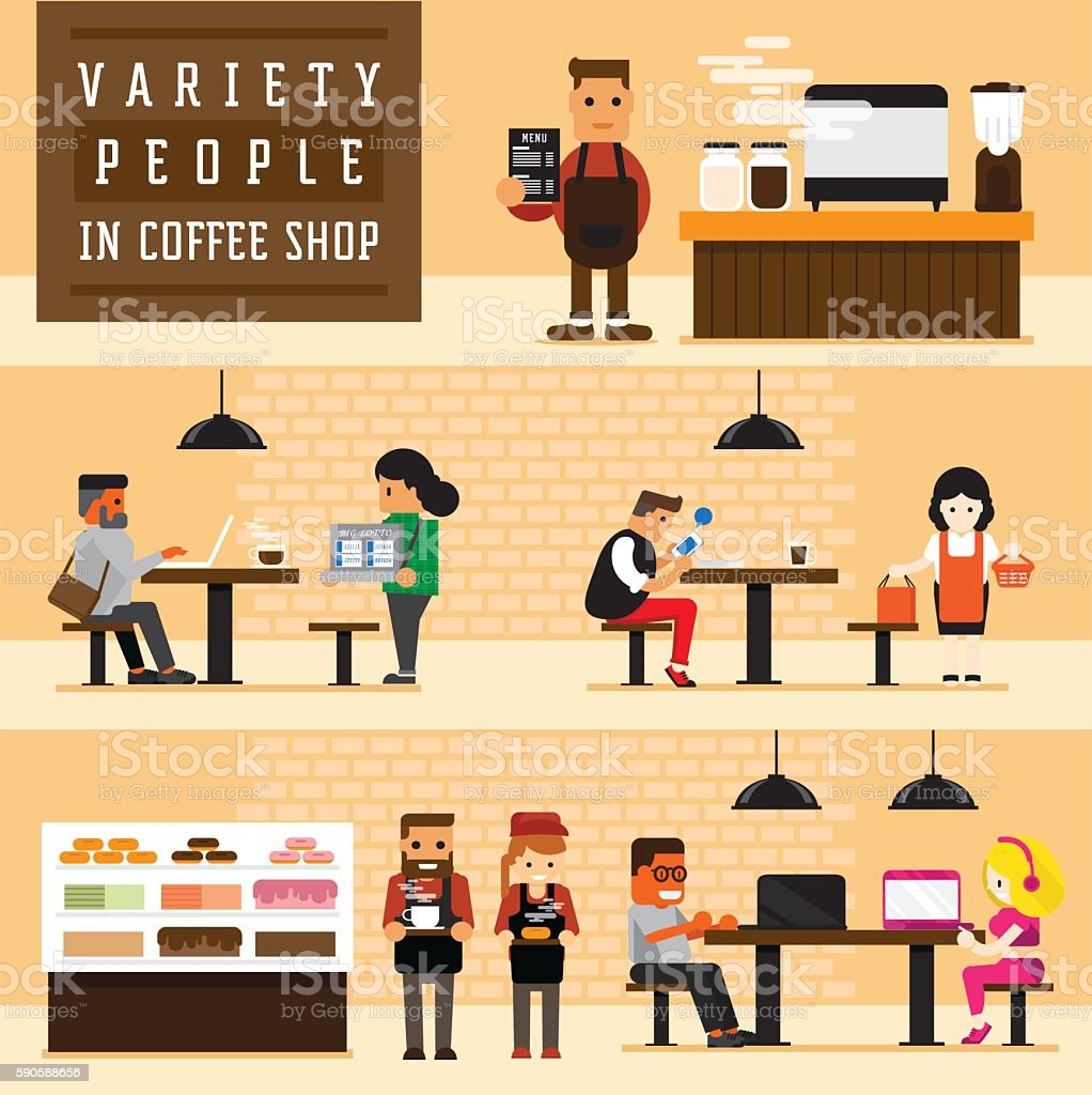 variety of people in coffee shop vector art illustration