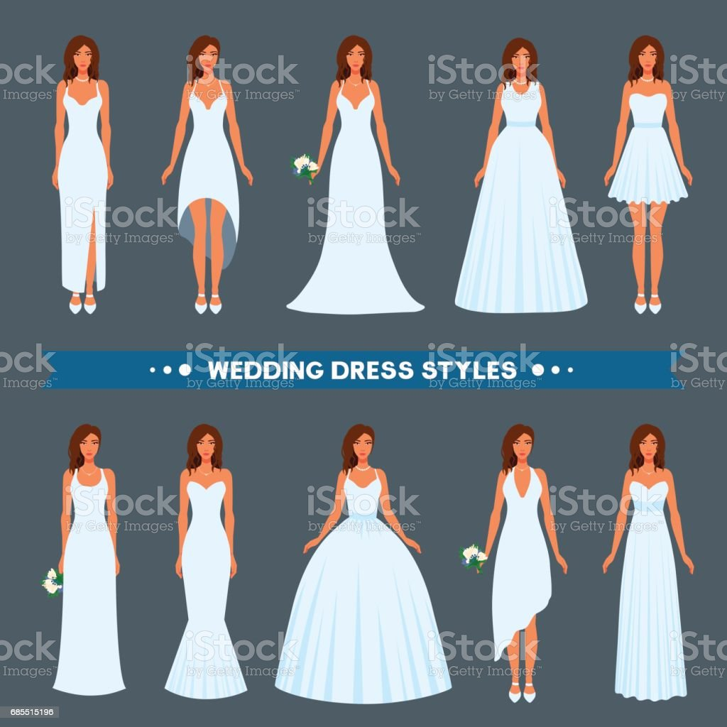 A variety of styles, types, fashions of wedding dress to wear on a beautiful girl. vector art illustration