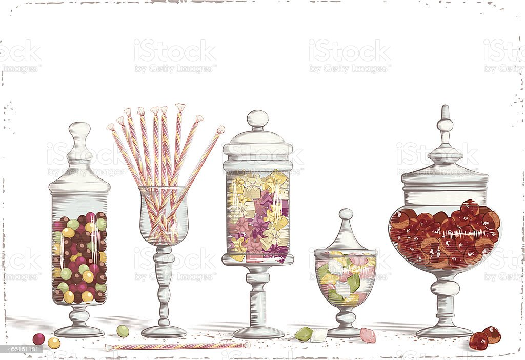 A variety of sweets in different jars vector art illustration