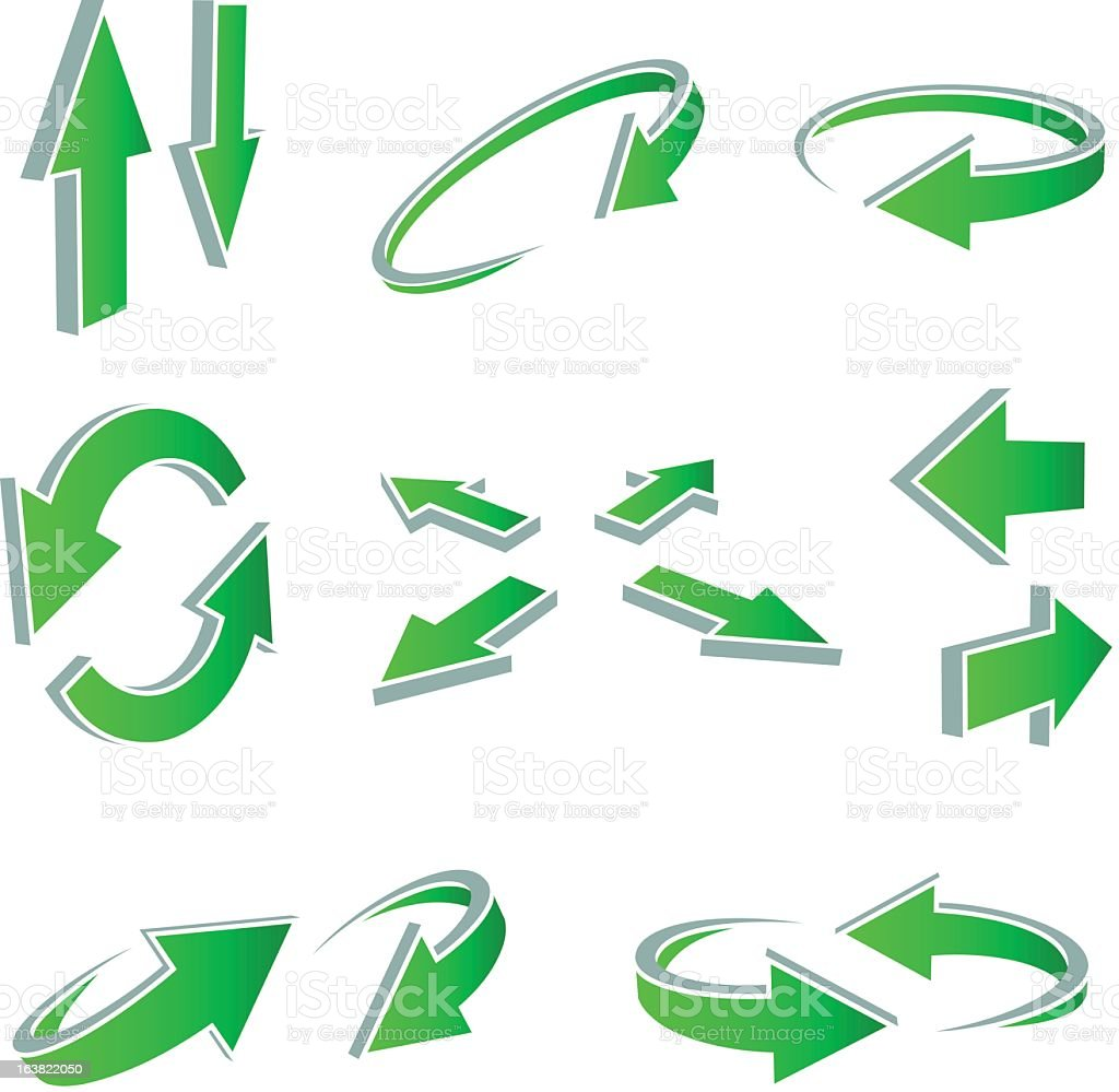 Various 3D style green arrows on a white background royalty-free stock vector art