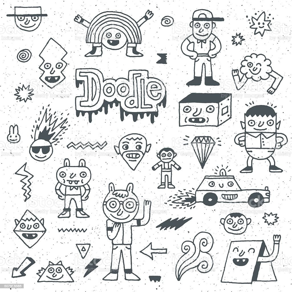 Various Abstract Funny Characters. Wacky Doodle Set 1. vector art illustration