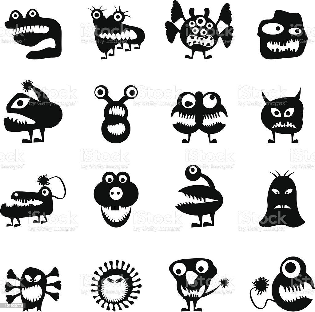 various abstract monsters illustration vector art illustration
