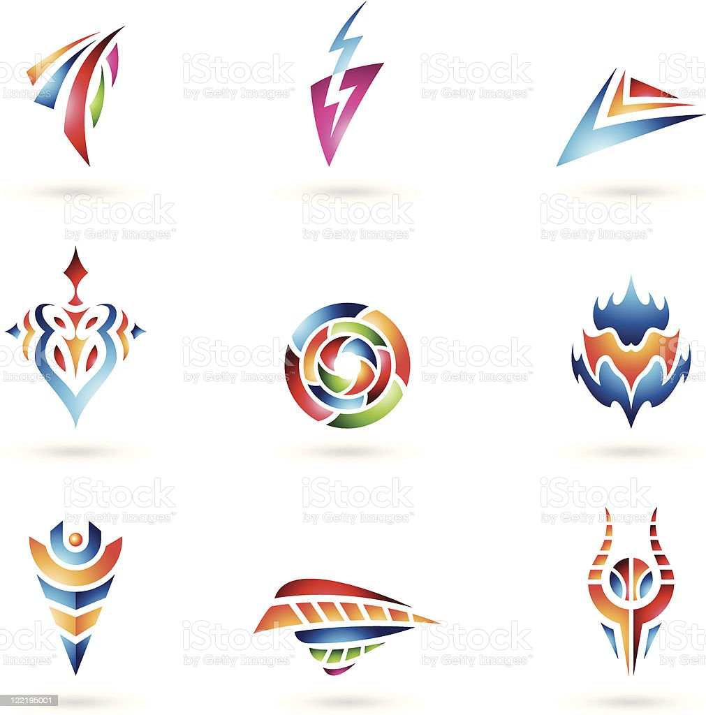 Various Abstract Shapes and Lines royalty-free stock vector art