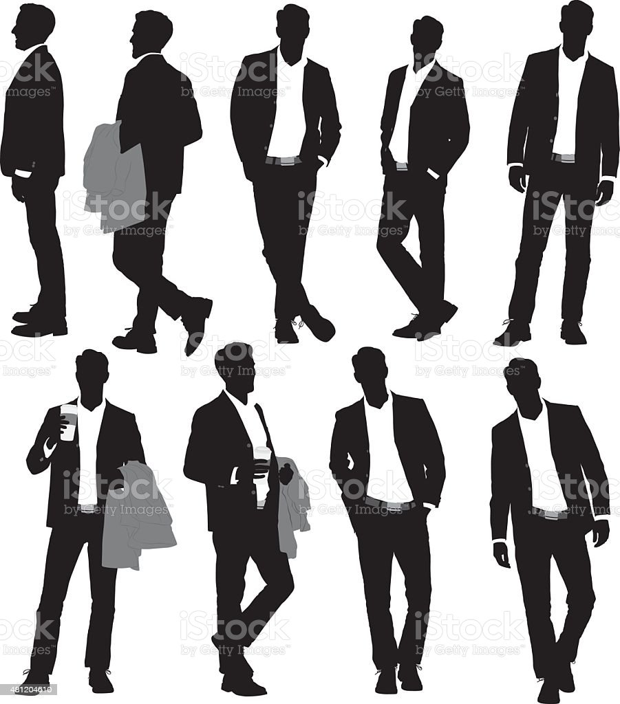 Various actions of businessman vector art illustration