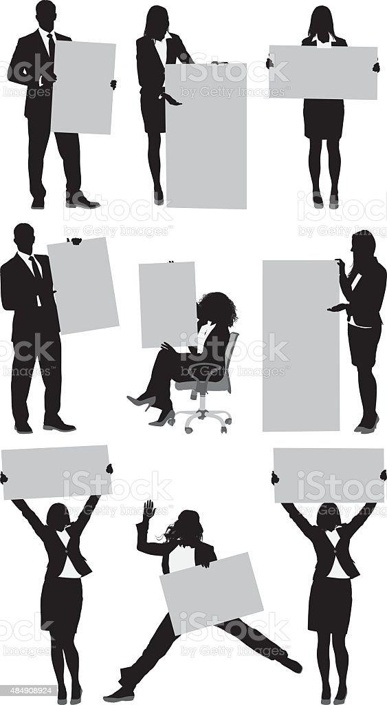 Various actions of businessmen and businesswomen vector art illustration