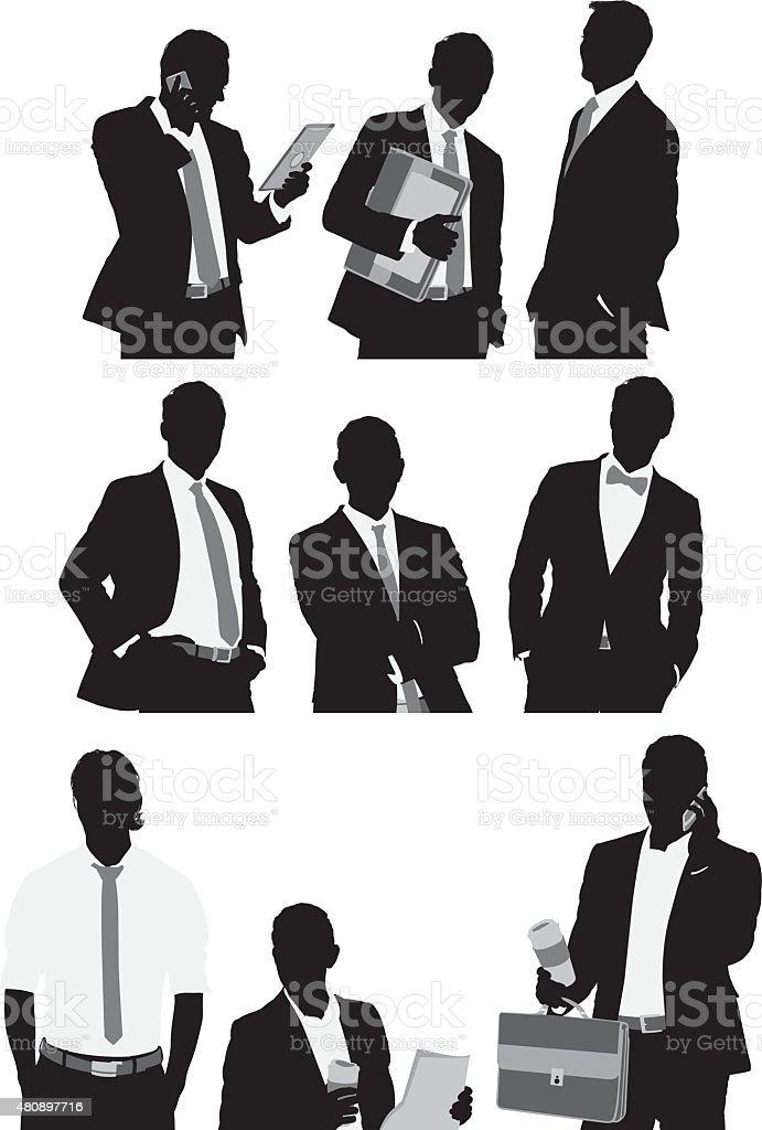Various actions of businessmen vector art illustration