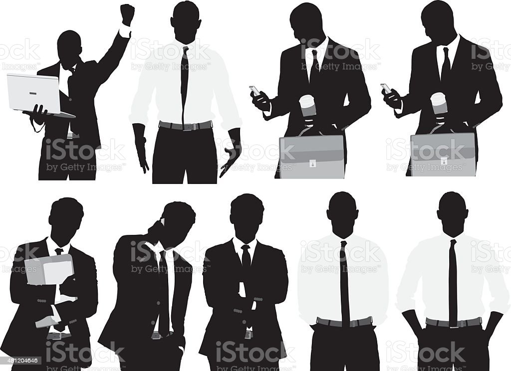 Various actions of businessmen vector art illustration