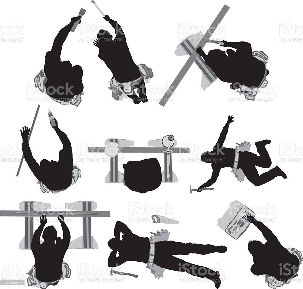 Various actions of carpenter vector art illustration