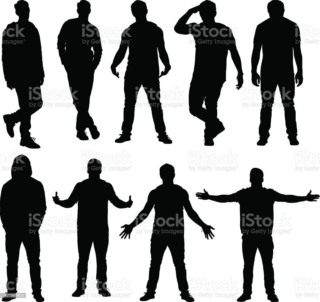 Various actions of casual men vector art illustration