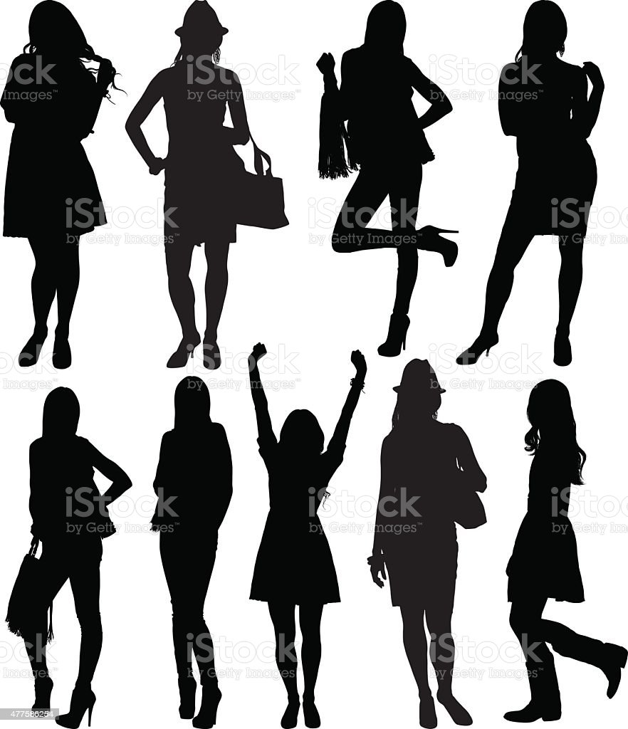 Various actions of casual women vector art illustration