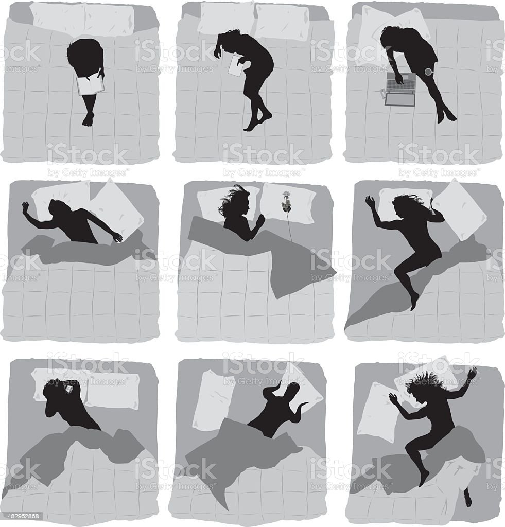 Various actions of female on bed vector art illustration
