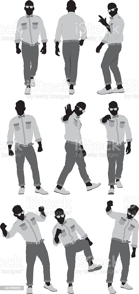 Various actions of hipster vector art illustration