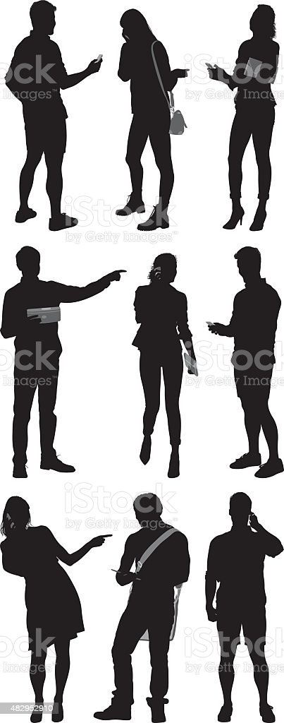 Various actions of people vector art illustration