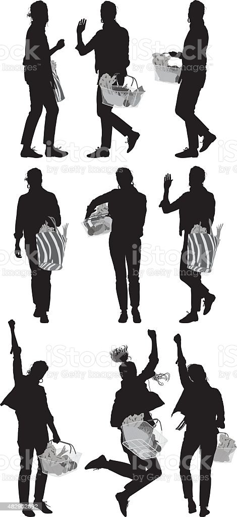 Various actions of woman with vegetable basket vector art illustration