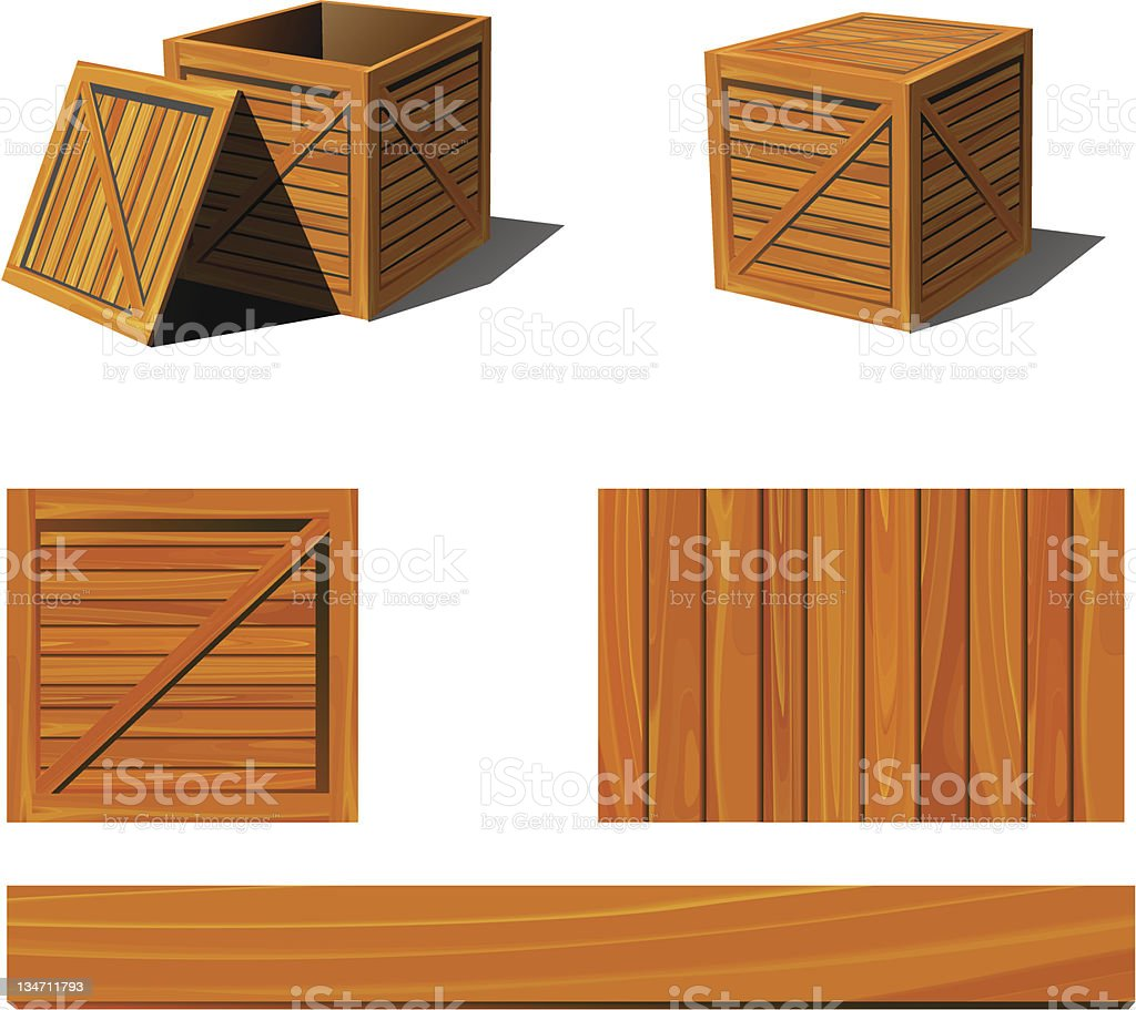 Various angles of a wooden box vector art illustration