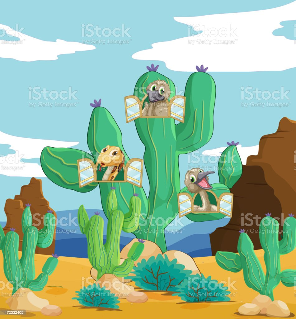 Various animals and cactus royalty-free stock vector art