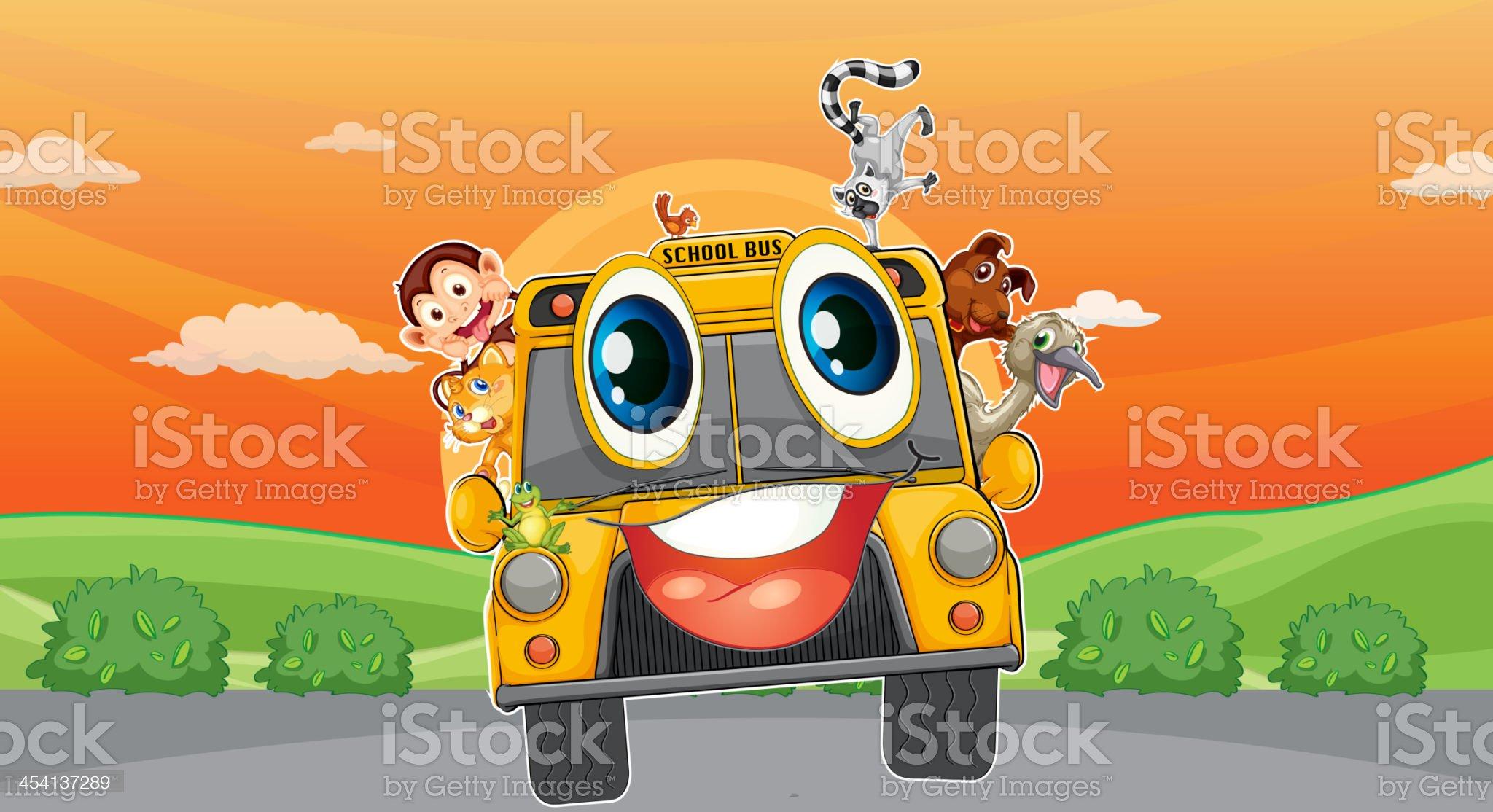 Various animals in school bus royalty-free stock vector art