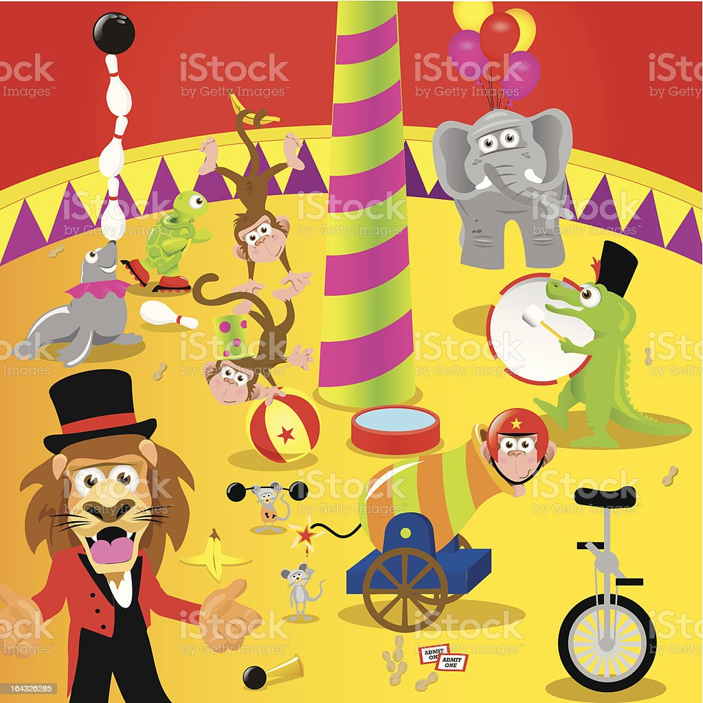 Various Animals Performing in Circus Tent royalty-free stock vector art