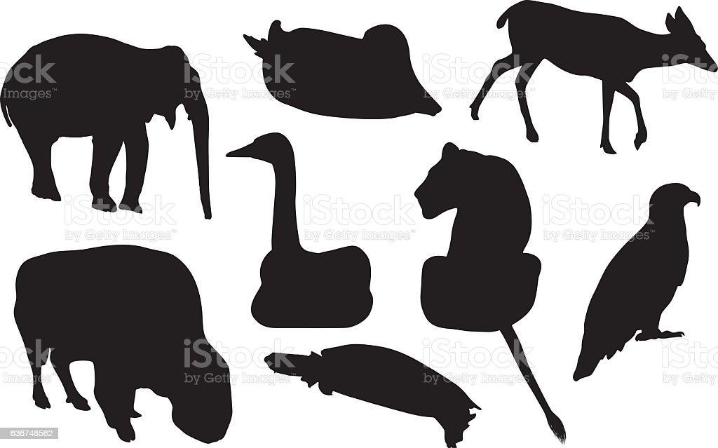 Various animals vector art illustration