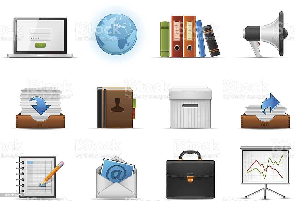 Various animated business and office icons royalty-free stock vector art