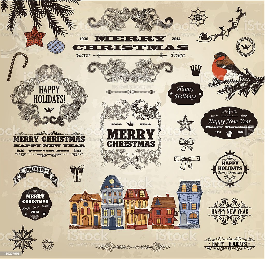 Various antique-style Christmas labels and icons vector art illustration