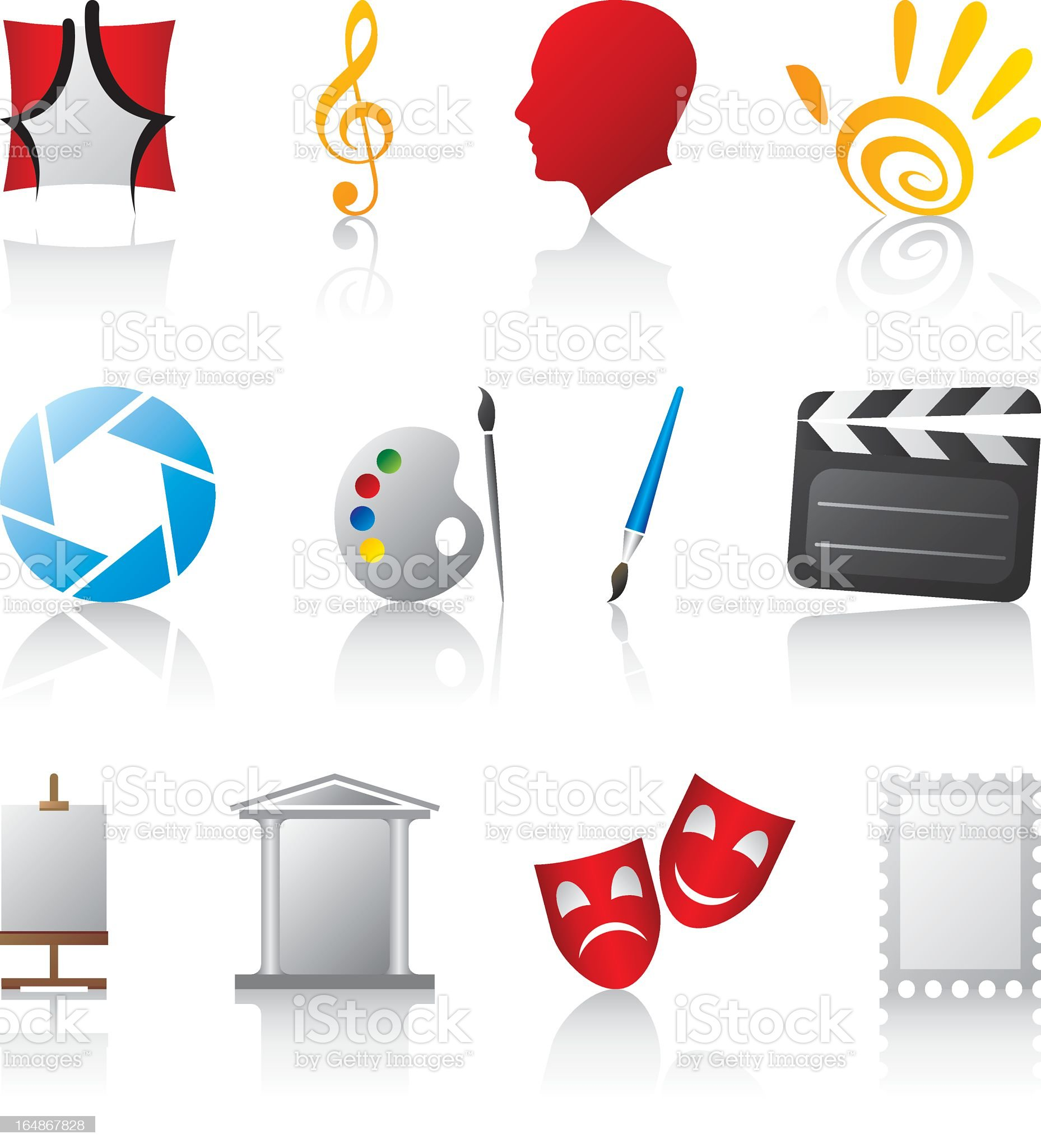 Various art icons on a white background royalty-free stock vector art