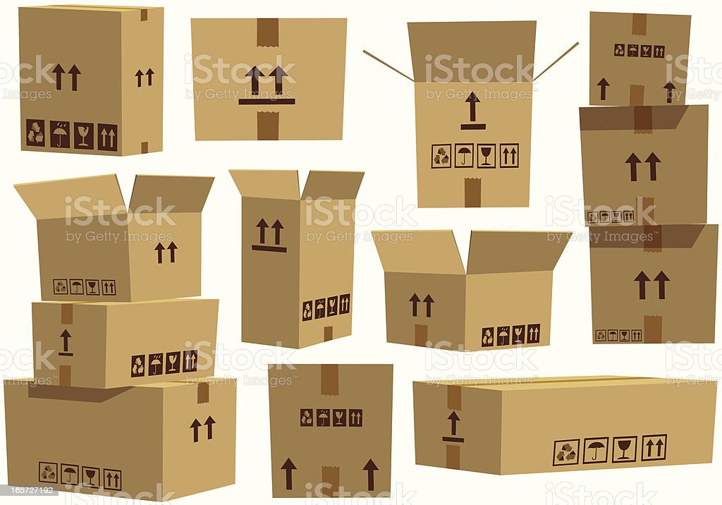 Various assorted cardboard boxes vector art illustration