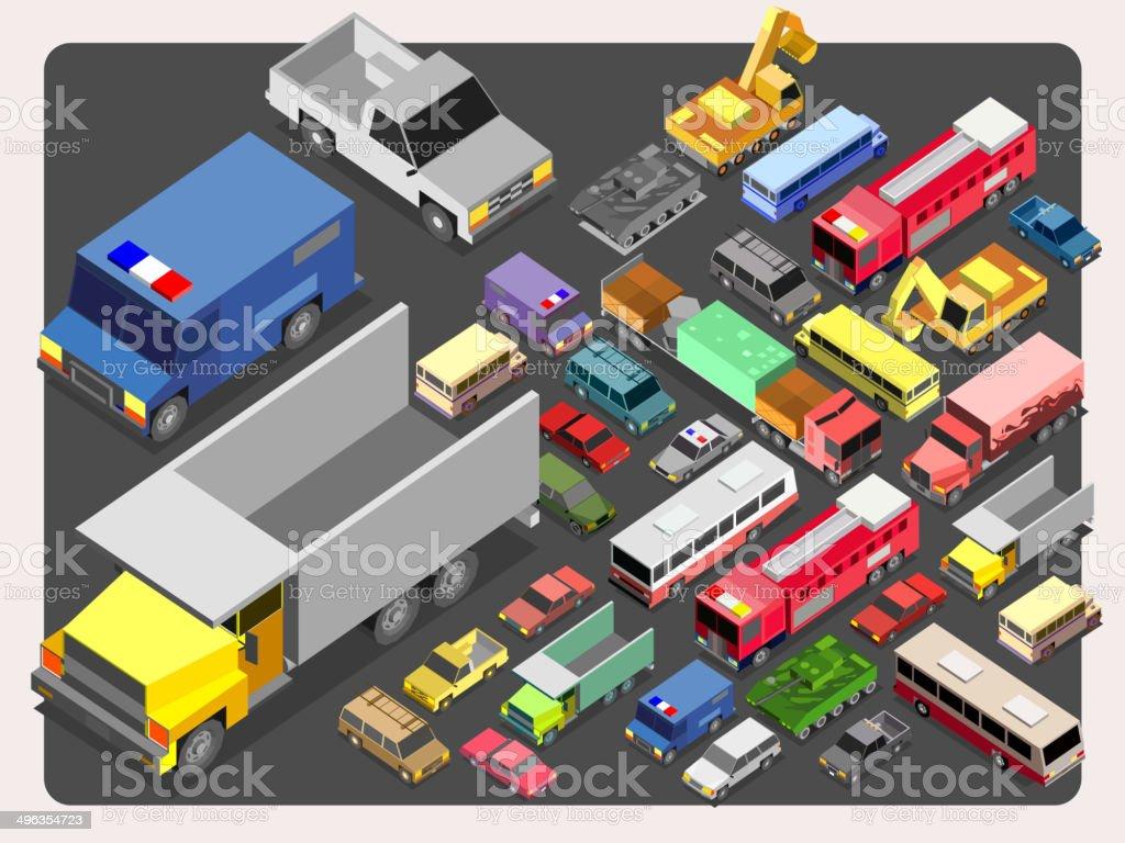 Various Automobiles, Trucks, Buses.vehicle Isometric Vector Illustration vector art illustration