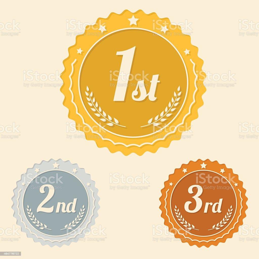 Various awards flat icons vector art illustration