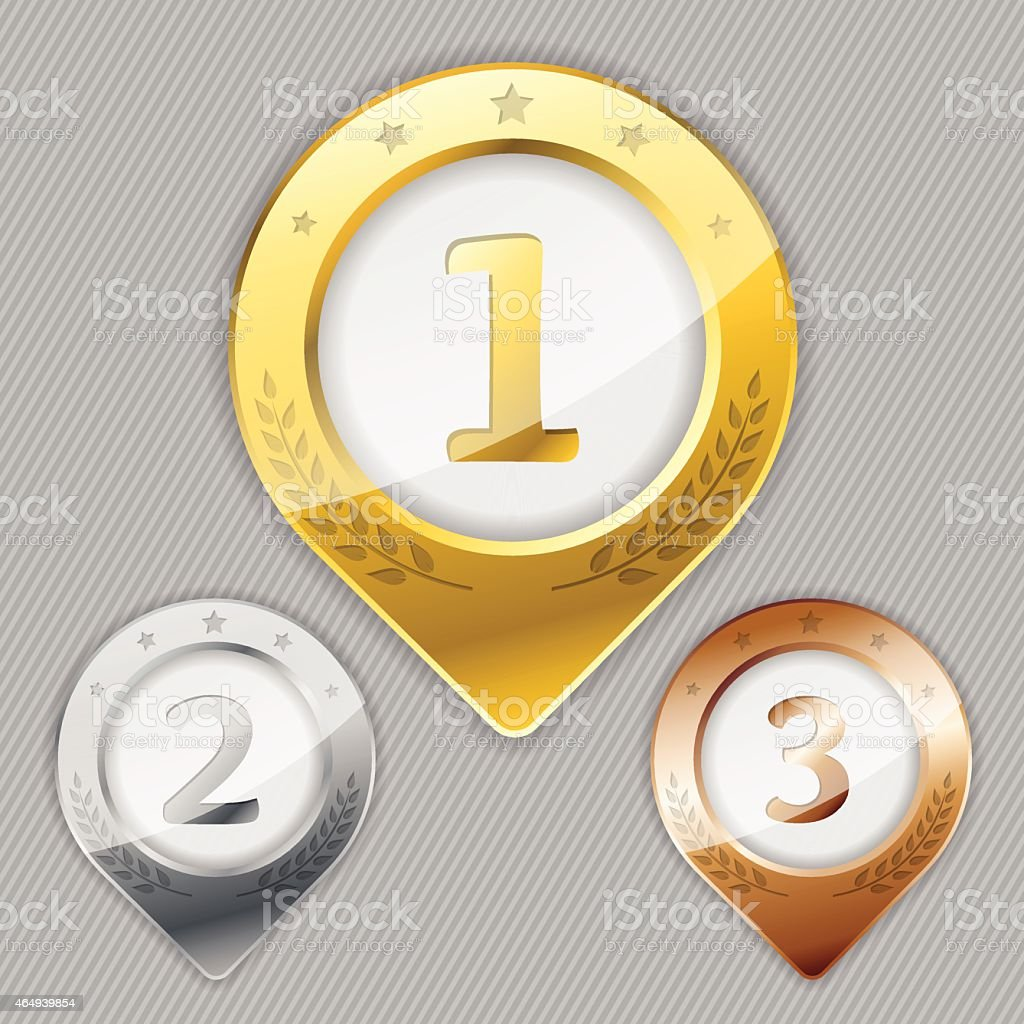 Various awards for winners vector art illustration