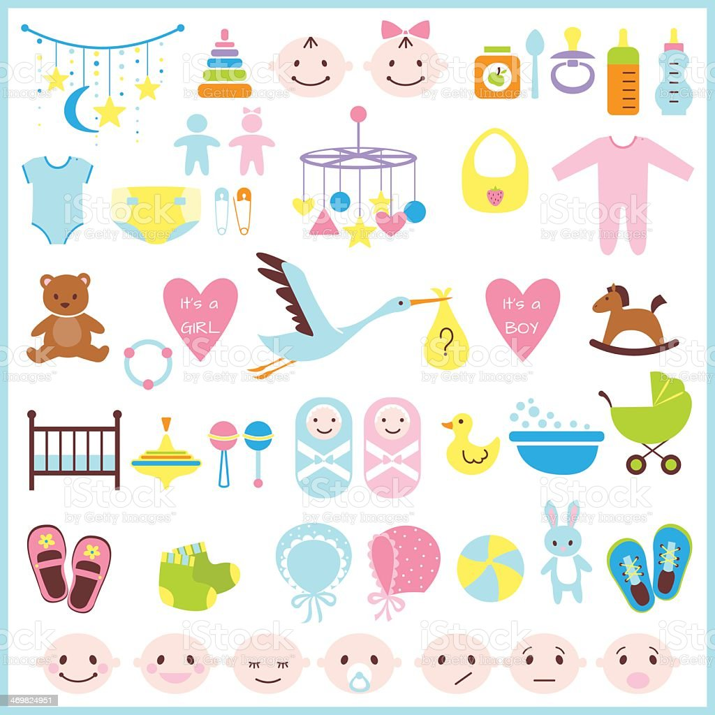 Various baby shower icon on a white background  royalty-free stock vector art