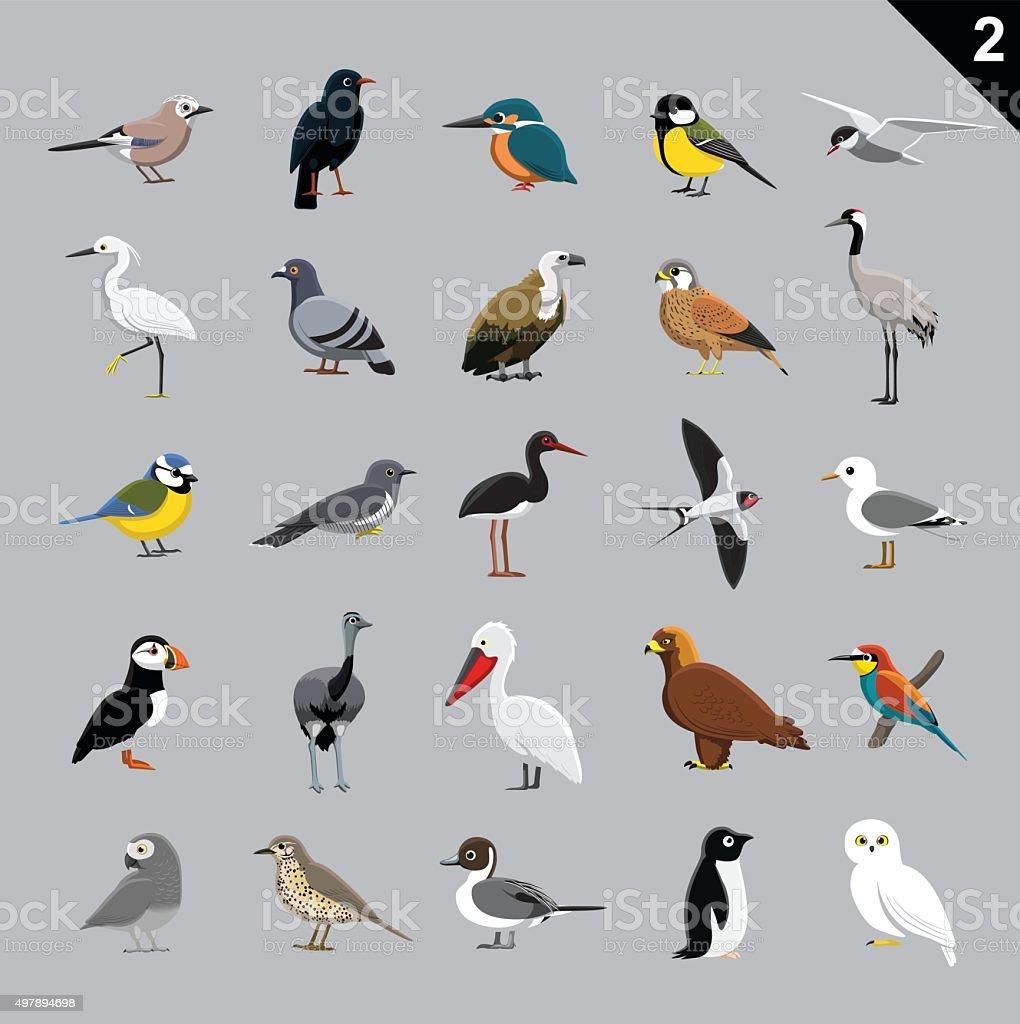 Various Birds Cartoon Vector Illustration 2 vector art illustration
