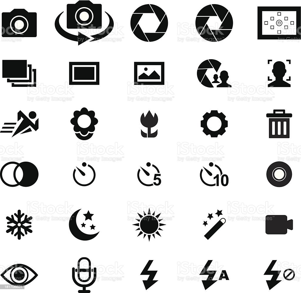 Various black and white camera icons vector art illustration