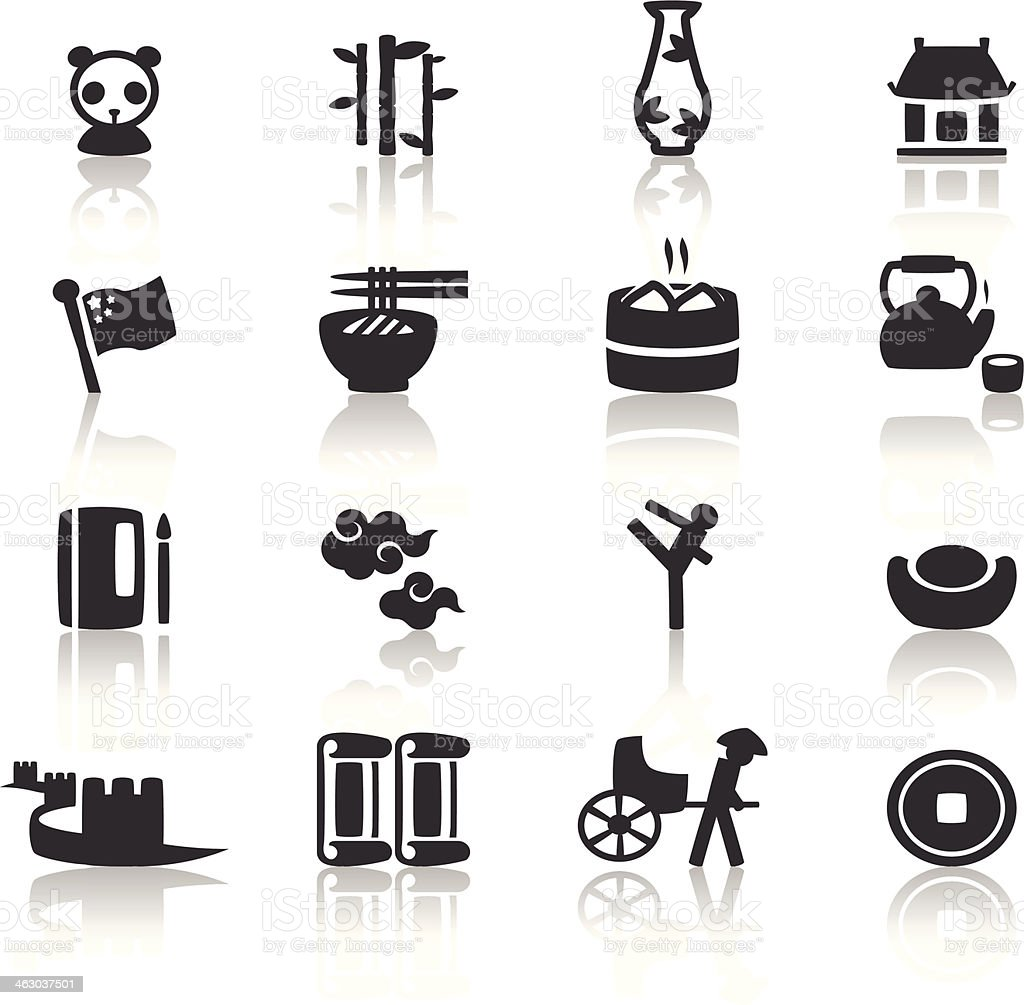 Various black and white Chinese icons vector art illustration