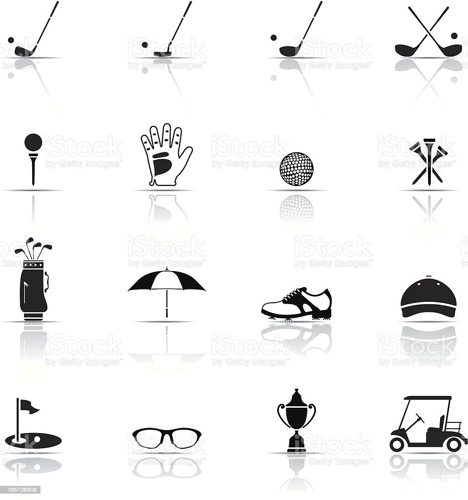 Various Black and white golf icons vector art illustration