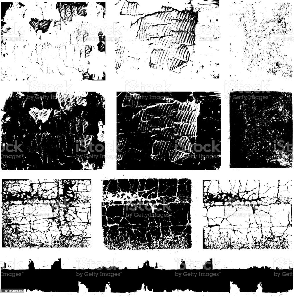 Various Black and White Grunge Texture royalty-free stock vector art