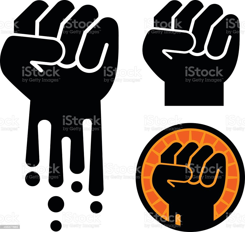 Various black ink illustrations of fists in the air royalty-free stock vector art