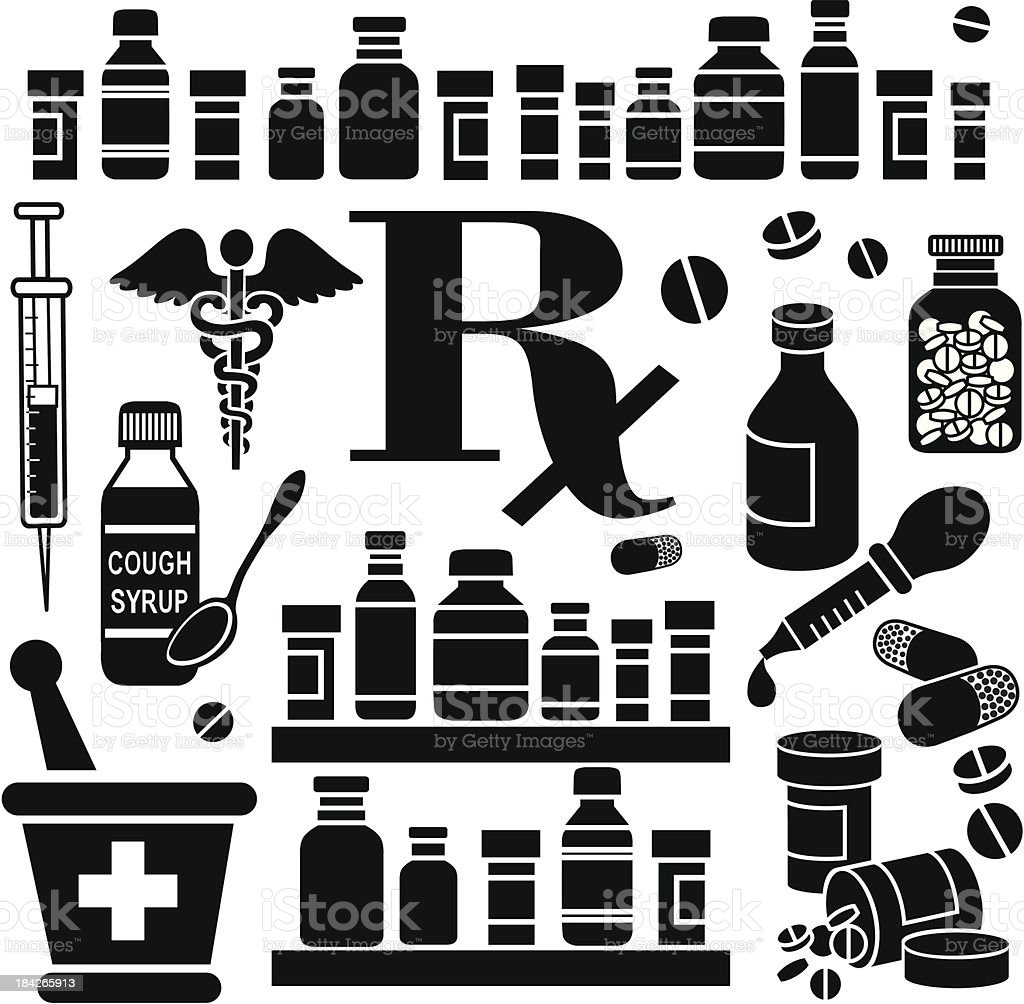 Various black pharmacy-related icons vector art illustration