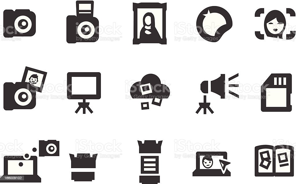 Various black photography icons vector art illustration