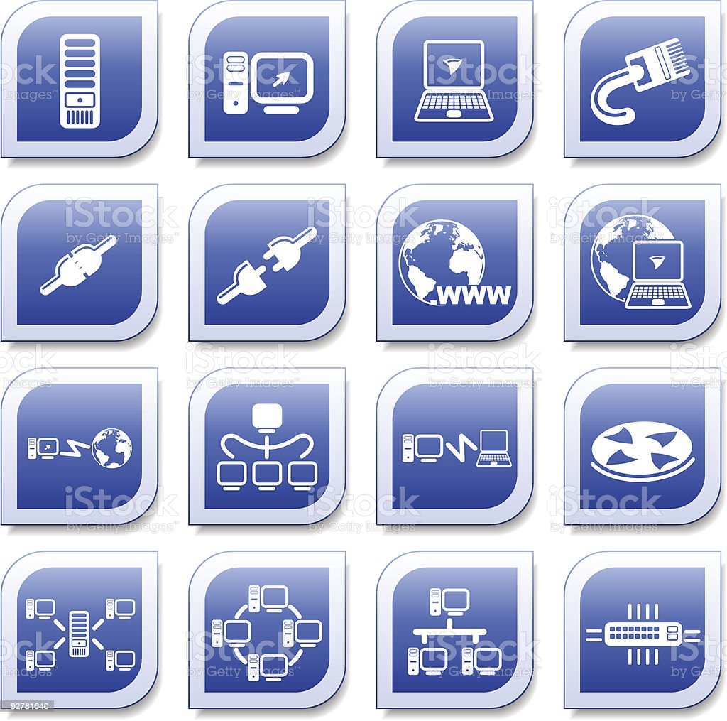 Various blue network connection icons vector art illustration